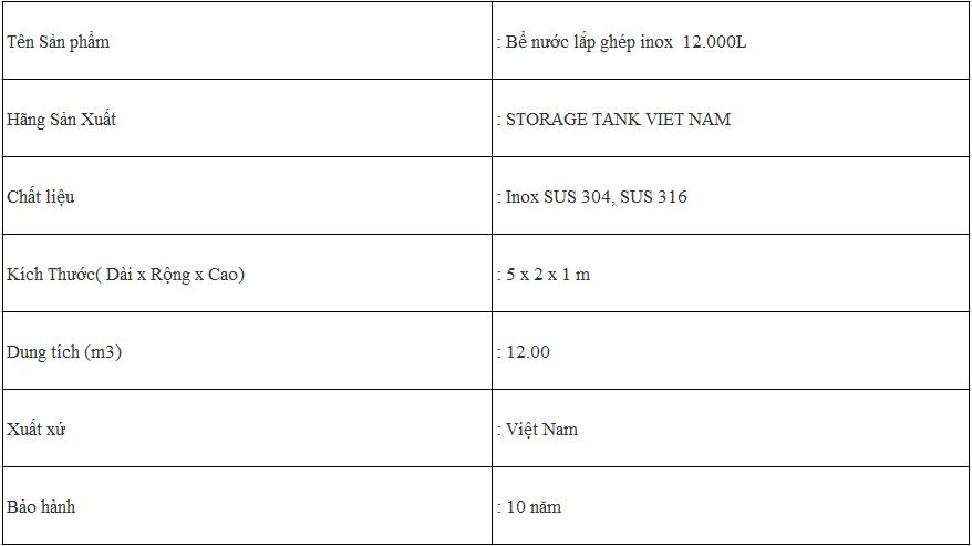 Bồn lắp ghép inox Strorage Tank 12m3